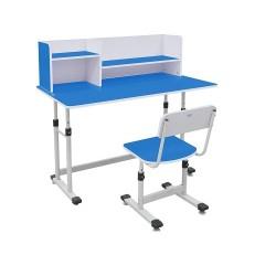 Bộ bàn ghế học sinh có giá sách BHS-13-07 màu xanh