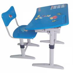 Bộ bàn ghế học sinh BHS-14-06 PU màu xanh