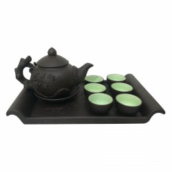 Bộ ấm chén trà Bát Tràng NNGS131 (Nâu xanh)