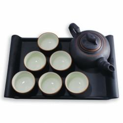 Bộ ấm chén trà gốm sứ Bát Tràng cổ truyền NVPRO hoạ tiết lá