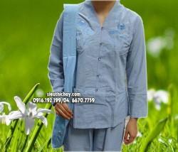 Quần áo đi lễ chùa- bộ Lai trụ thêu hoa sen