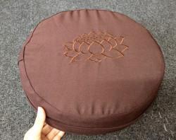 Bồ đoàn, đệm ngồi thiền vải thô nâu thêu sen 30x10 cm giá 180k