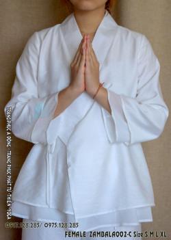 Bồ quần áo ngồi thiền trắng nữ 2 lớp cài chéo