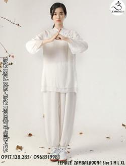 Quần áo đi chùa, tập yoga, khí công, võ, dưỡng sinh cho nữ - Bộ cổ tàu 2 lớp