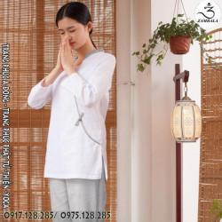 Quần áo đi chùa, tập yoga, khí công, võ, dưỡng sinh cho nữ - Bộ cổ lá đề