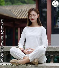 Quần áo đi chùa, tập yoga, khí công, võ, dưỡng sinh cho nữ - Bộ cổ cánh sen