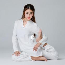 Quần áo đi chùa, tập yoga, khí công, võ, dưỡng sinh cho nữ - Bộ cổ chữ V