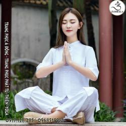 Quần áo đi chùa, tập yoga, khí công, võ, dưỡng sinh cho nữ - Bộ 3 Tà Dài