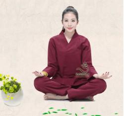 Quần áo Phật tử đi chùa, tập yoga, khí công, võ, dưỡng sinh cho nữ - Bộ cổ V viền