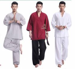 Quần áo Phật tử đi chùa, tập yoga, khí công, võ, dưỡng sinh cho nam - Bộ cổ V cao