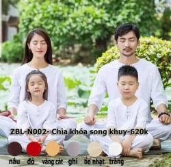 Quần áo Phật tử đi chùa, tập yoga, khí công, võ, dưỡng sinh cho nam - Bộ cổ chia khóa 2 nút