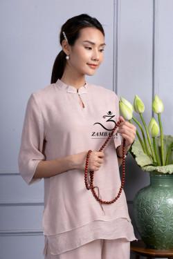 Quần áo Phật tử đi chùa, tập yoga, khí công, võ, dưỡng sinh cho nữ - Bộ cổ giọt lệ 2 lớp