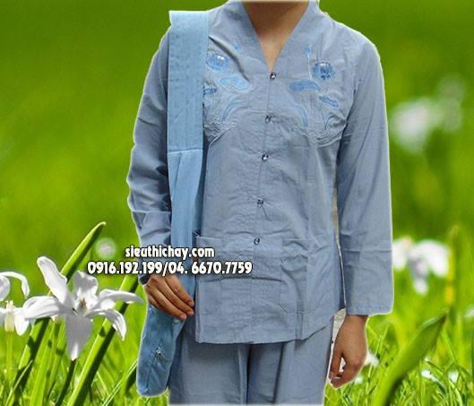 quần áo đi lễ chùa- bộ lai trụ thêu hoa sen màu lam